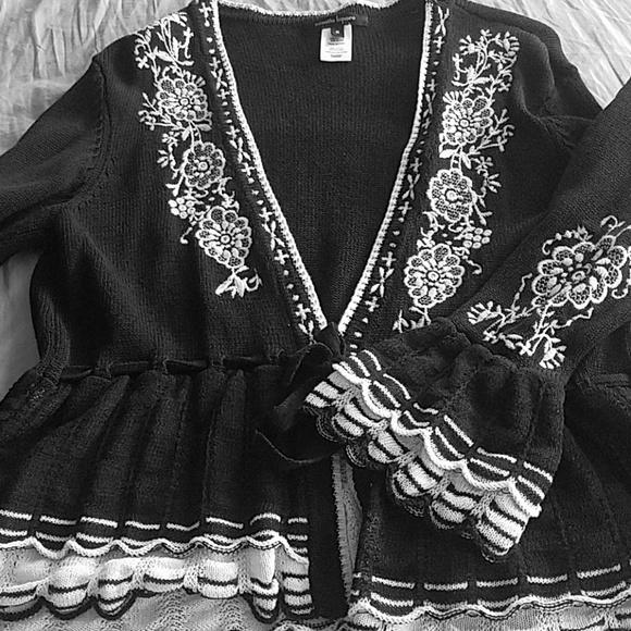 Nanette Lepore Pointelle Cardi Alpaca Wool Blend Black Cardigan Sweater